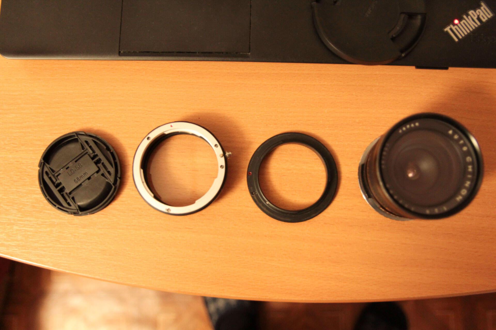 Набор из реверсивного кольца и защиты задней линзы объектива